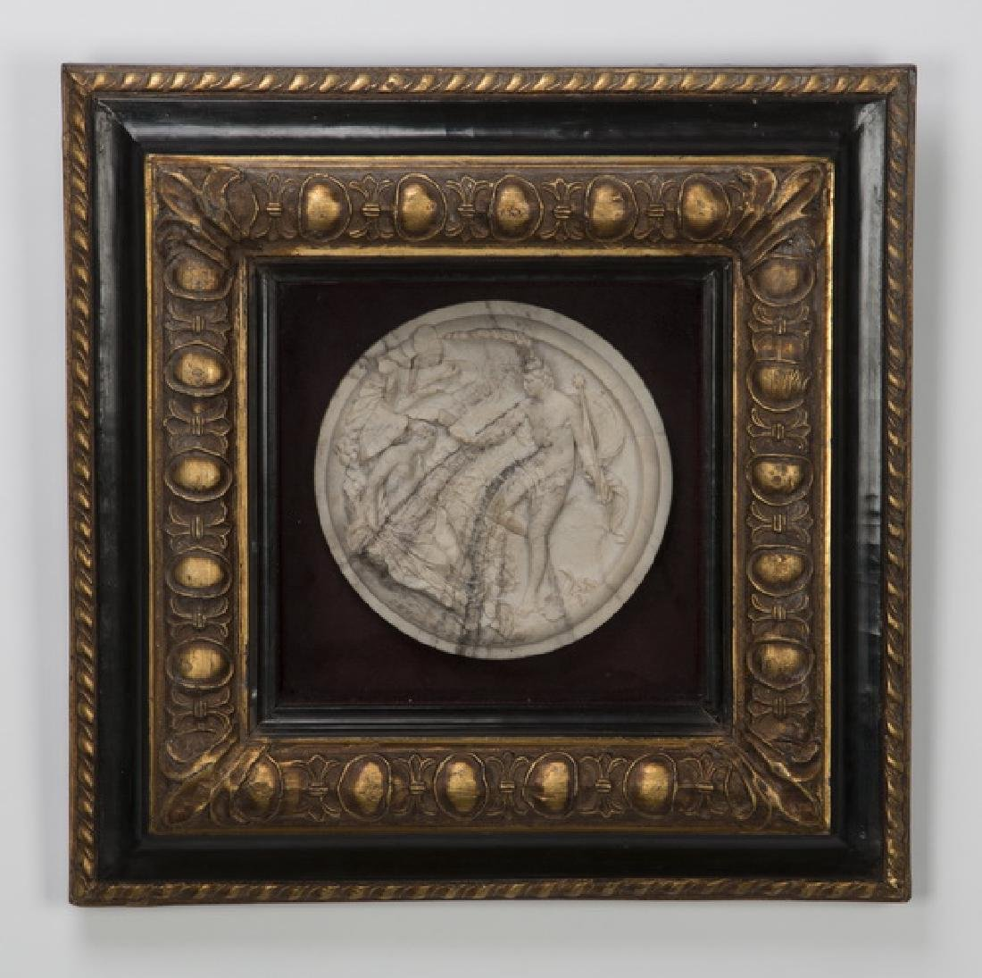 Framed cultured stone roundel of Oberon & Titania