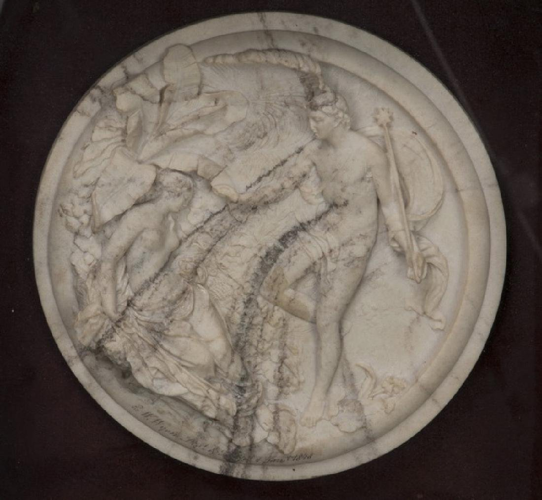Framed cultured stone roundel of Oberon & Titania - 2