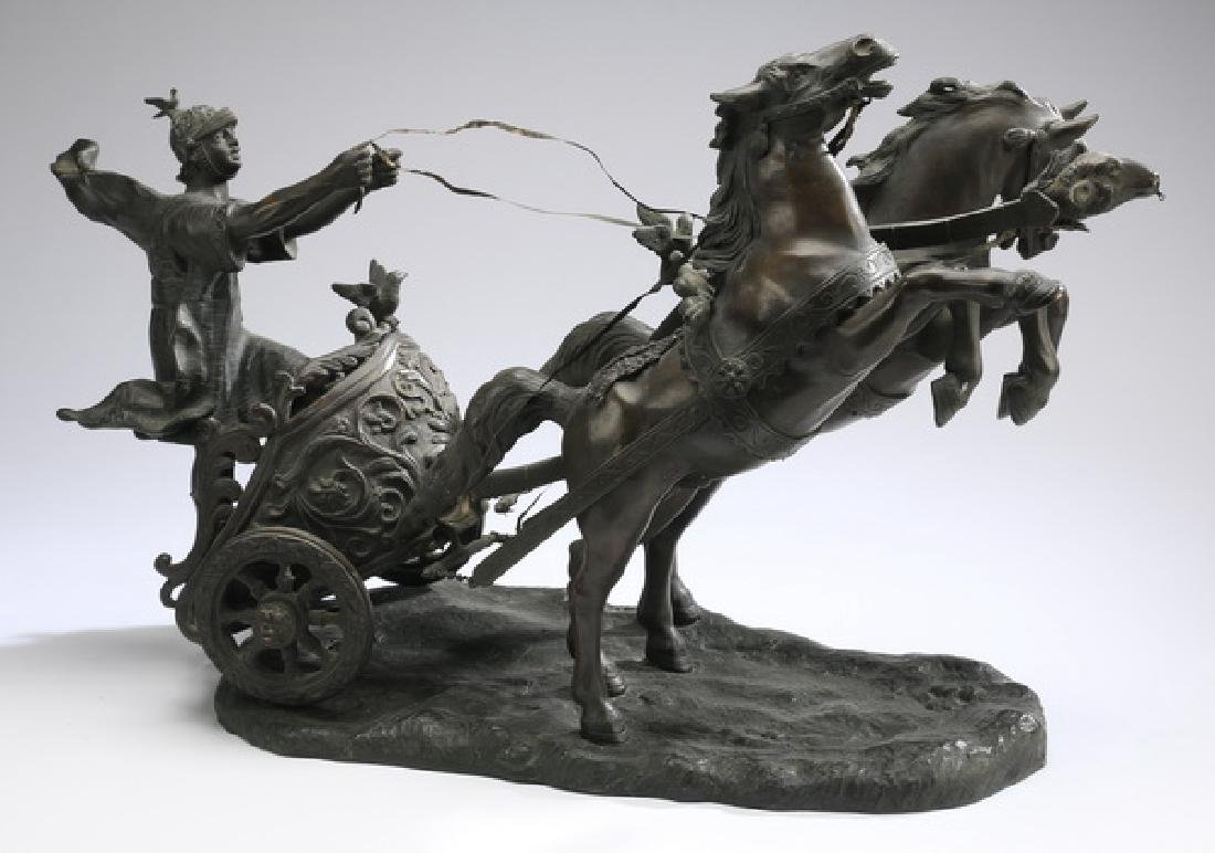 Continental bronze, Roman chariot racer w/horses