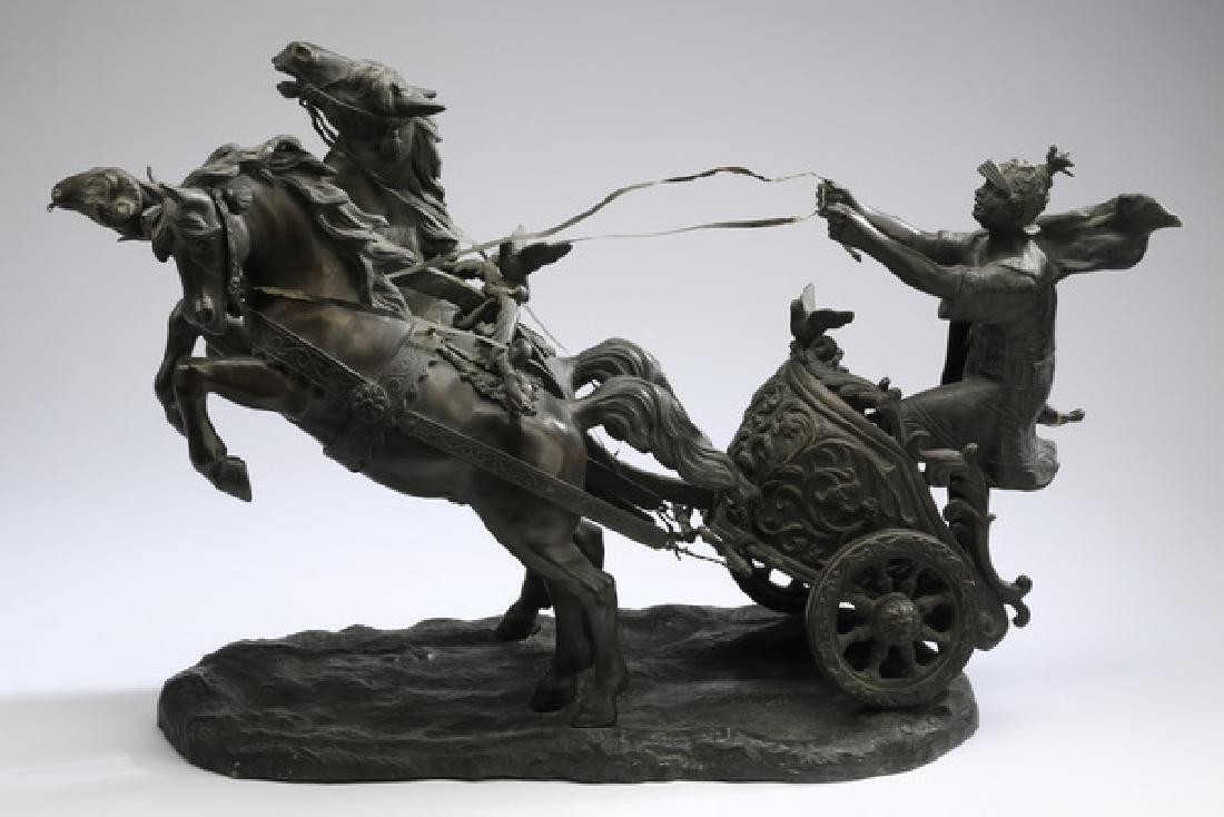 Continental bronze, Roman chariot racer w/horses - 2