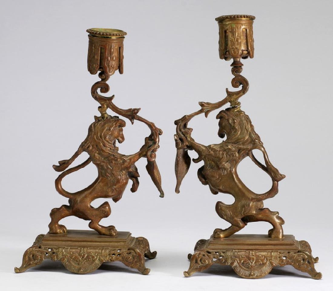 """(2) Lion rampant candle holders, 9.25""""h"""