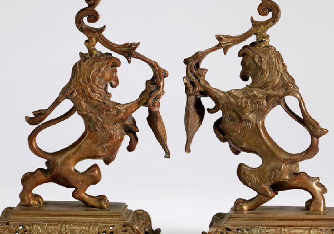 """(2) Lion rampant candle holders, 9.25""""h - 2"""
