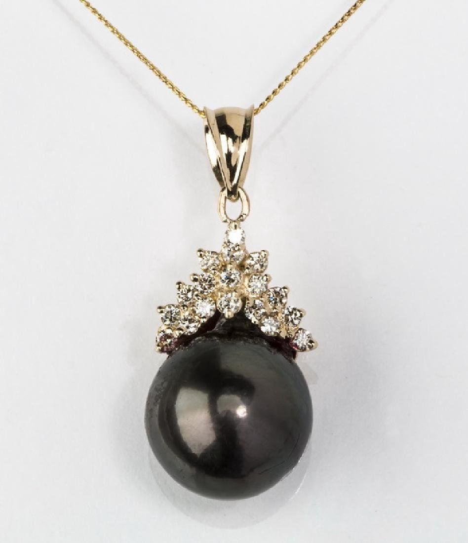 South Sea black pearl, diamond & 14k necklace,