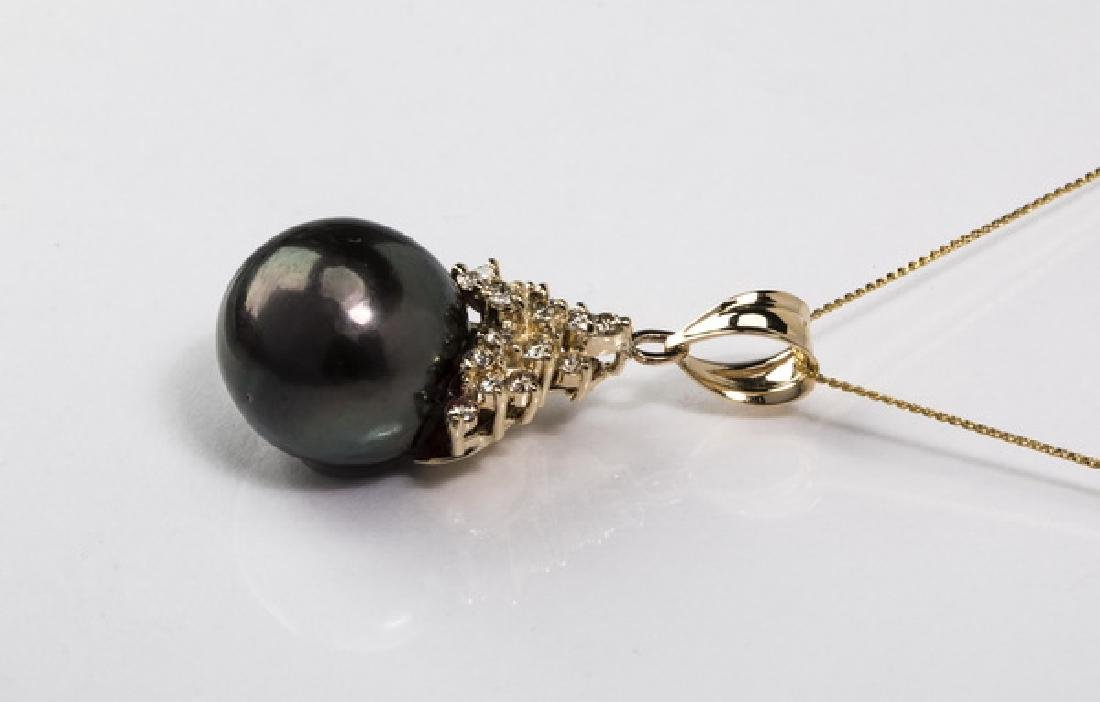 South Sea black pearl, diamond & 14k necklace, - 2