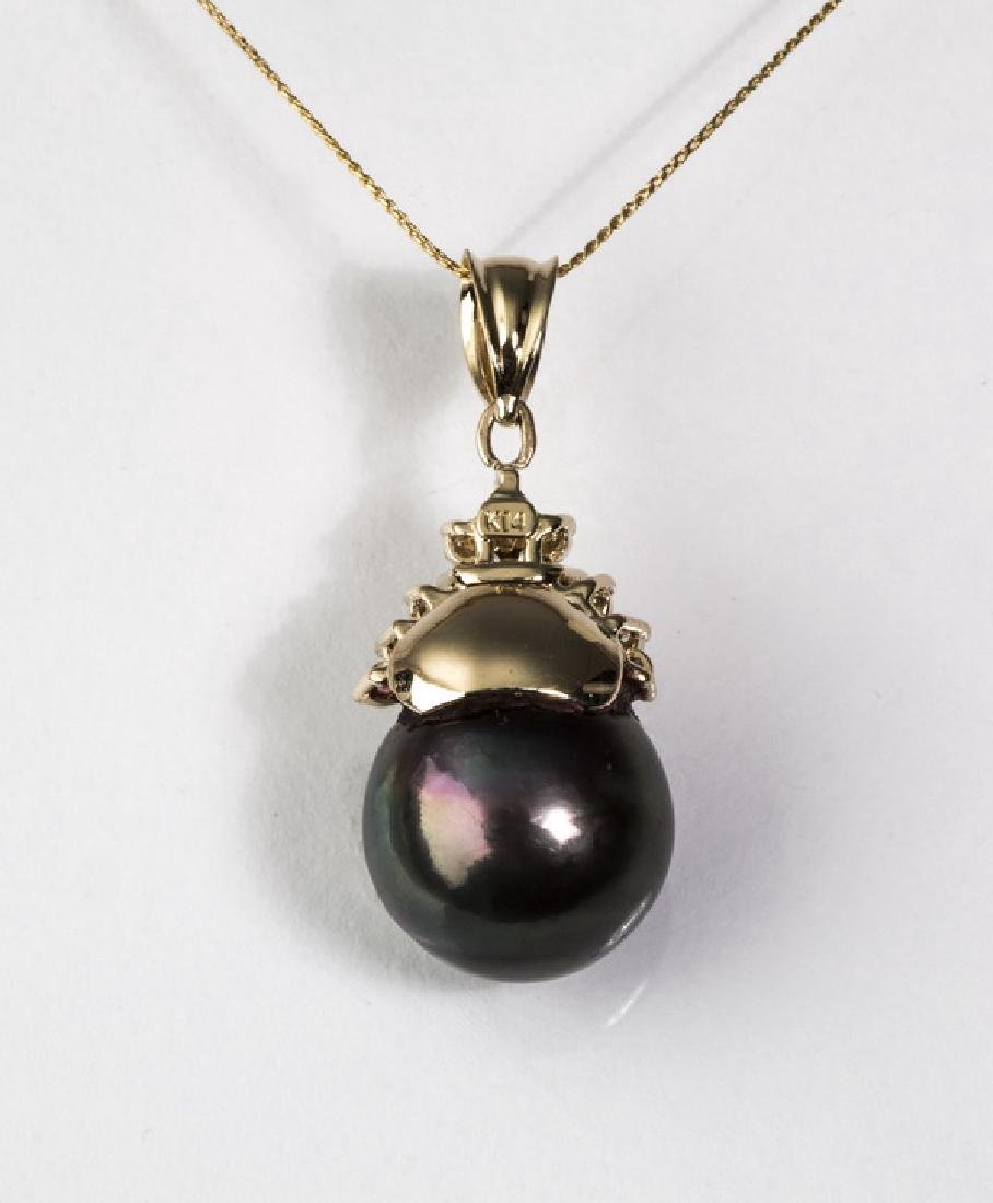 South Sea black pearl, diamond & 14k necklace, - 3