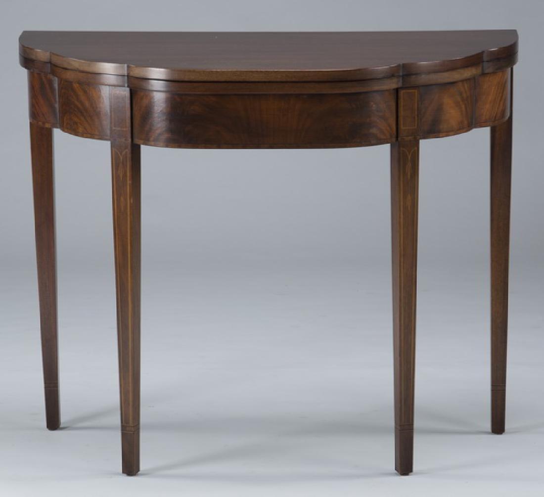 Sheraton style mahogany demi-lune flip top side table