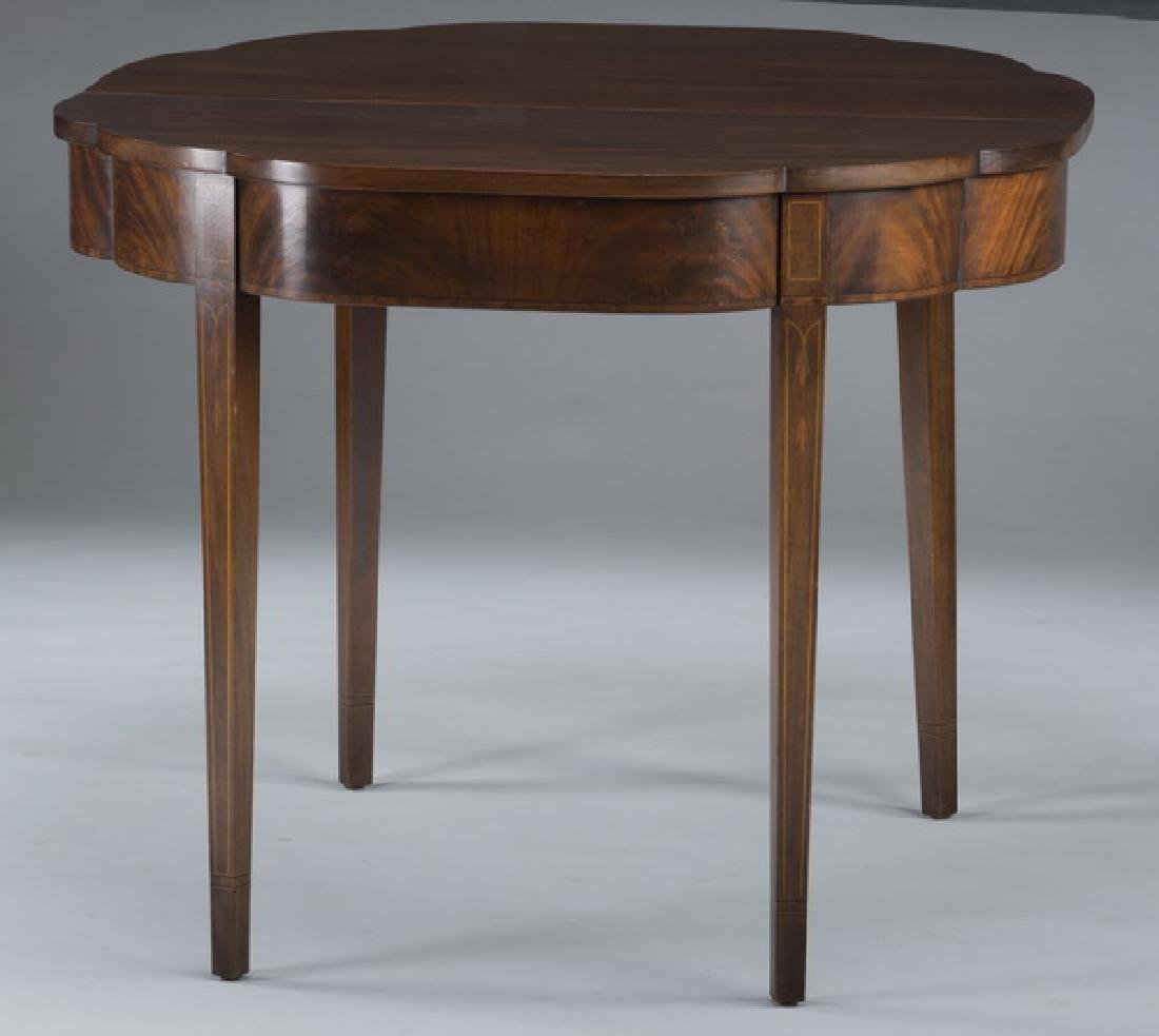 Sheraton style mahogany demi-lune flip top side table - 2