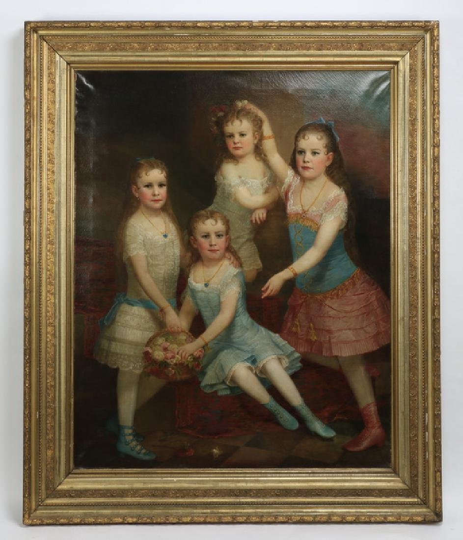"""O/c portrait of four sisters, circa 1880s, 74""""h"""