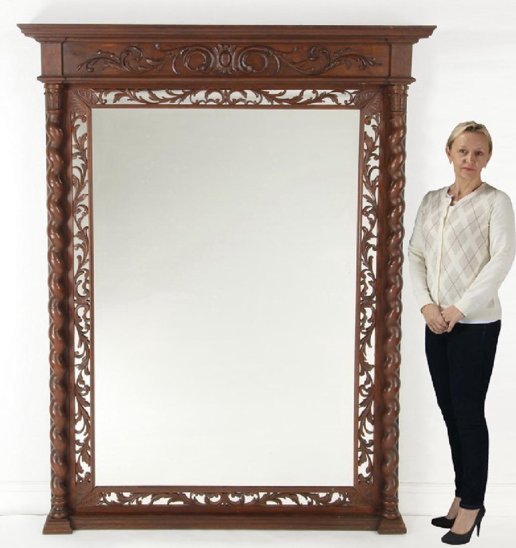 "Oversized Italian carved walnut mirror, 78""h"