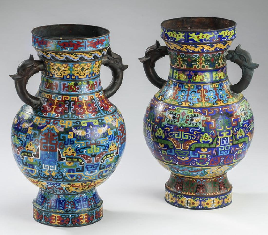 "(2) Chinese cloisonne Taotie vases, 22""h - 2"