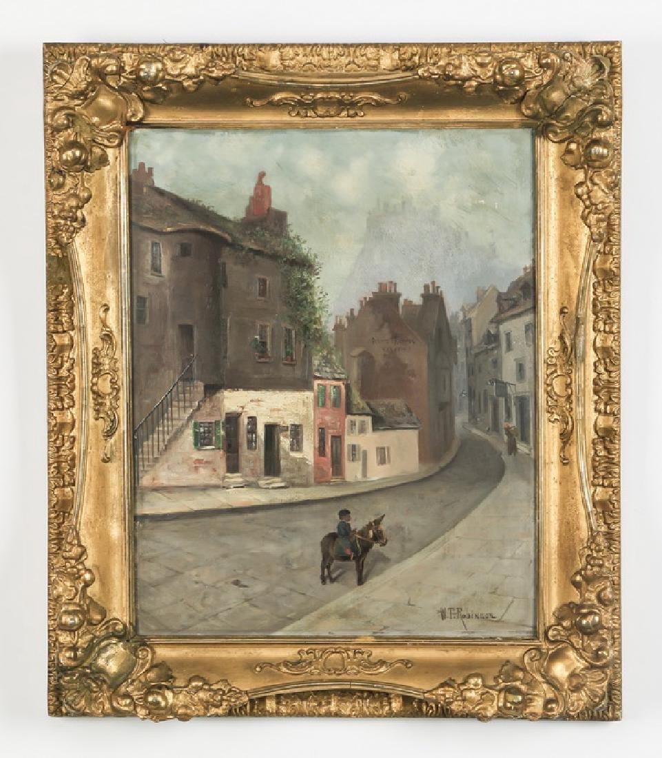 William Robinson signed, O/p village scene, 19th c.