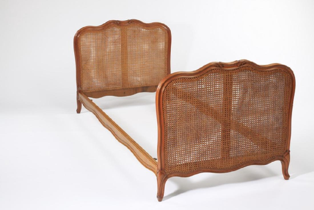 French carved walnut daybed with woven cane sides