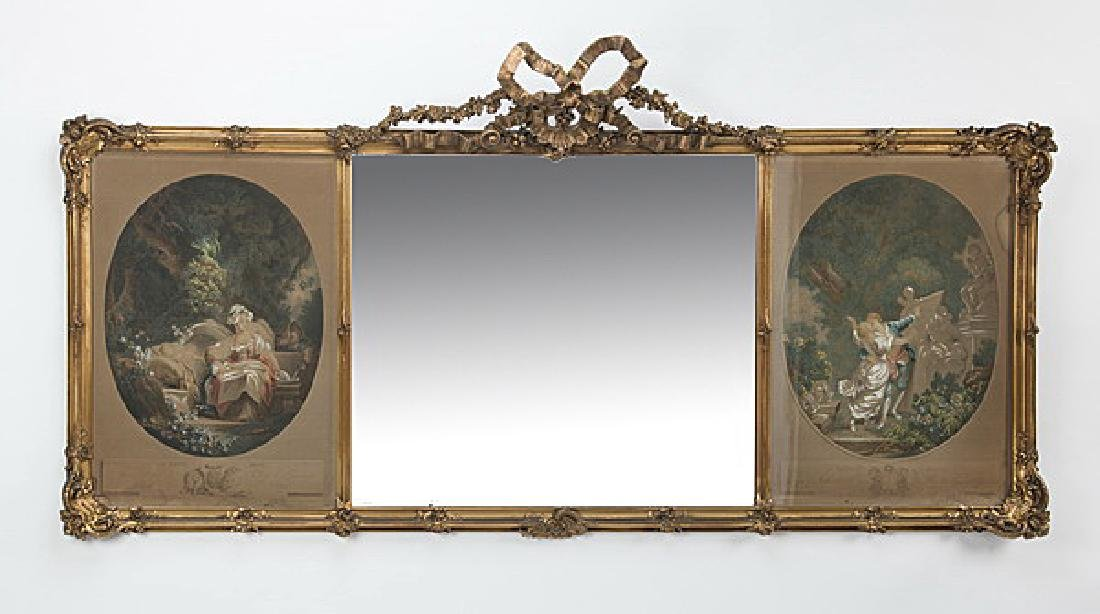 Gilt wood trumeau mirror w/engravings after Fragonard