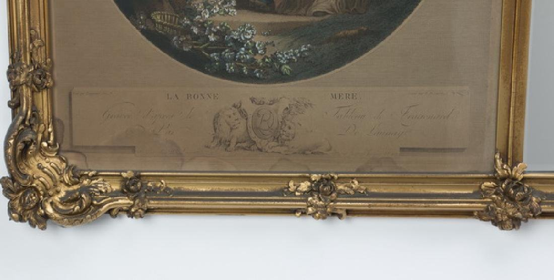 Gilt wood trumeau mirror w/engravings after Fragonard - 3