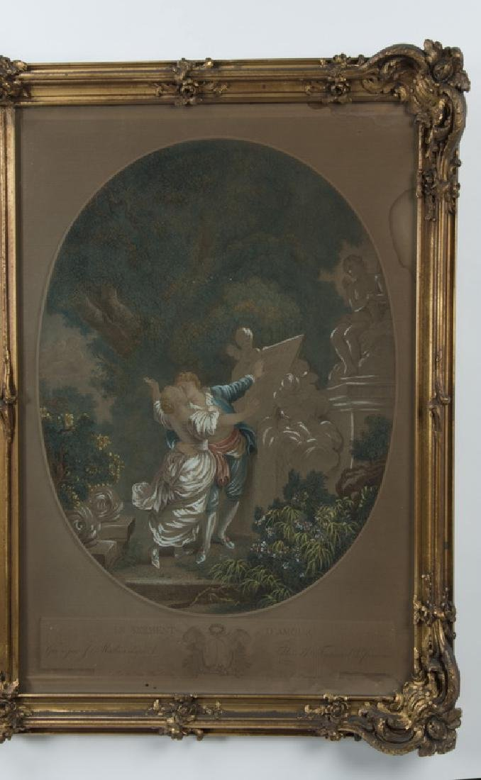 Gilt wood trumeau mirror w/engravings after Fragonard - 4
