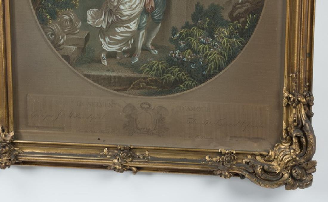 Gilt wood trumeau mirror w/engravings after Fragonard - 5