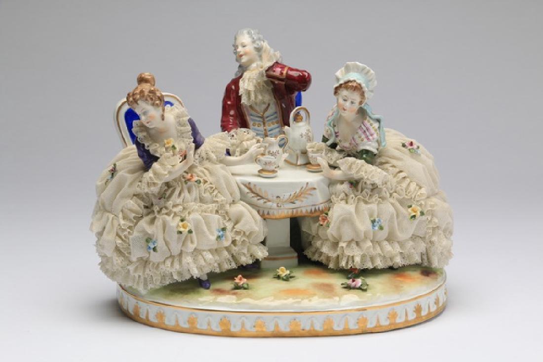 "Unter Weiss Bach porcelain group, 12""w"