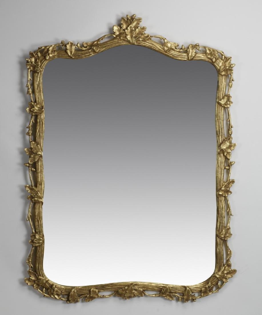 """Carved gilt wood mirror w/ acorn leaf motif, 54""""h"""