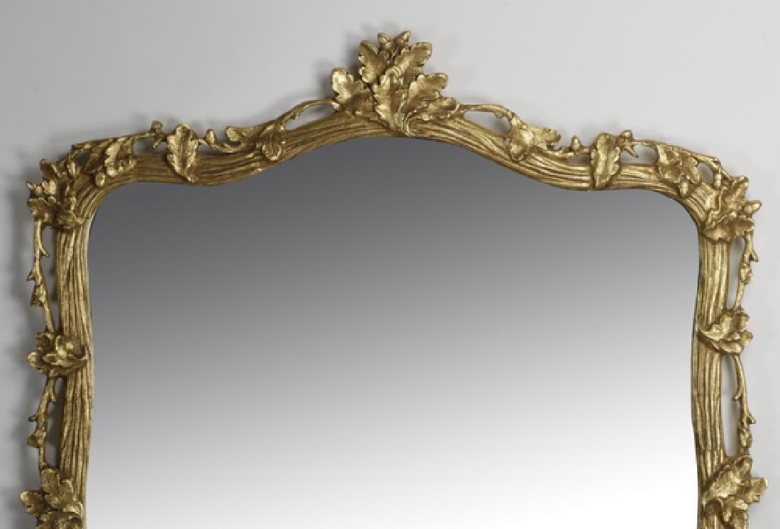 """Carved gilt wood mirror w/ acorn leaf motif, 54""""h - 2"""