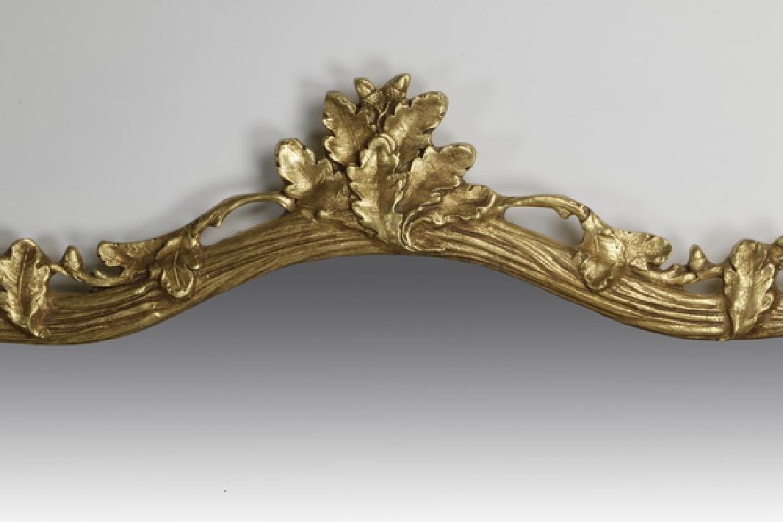 """Carved gilt wood mirror w/ acorn leaf motif, 54""""h - 3"""