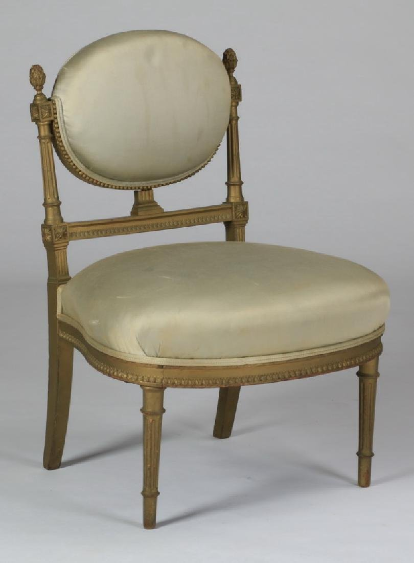 Continental giltwood side chair in silk