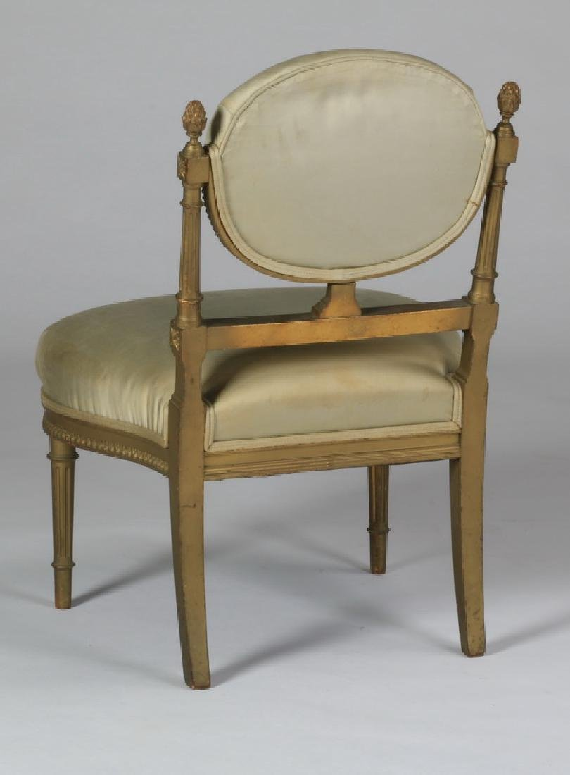 Continental giltwood side chair in silk - 2