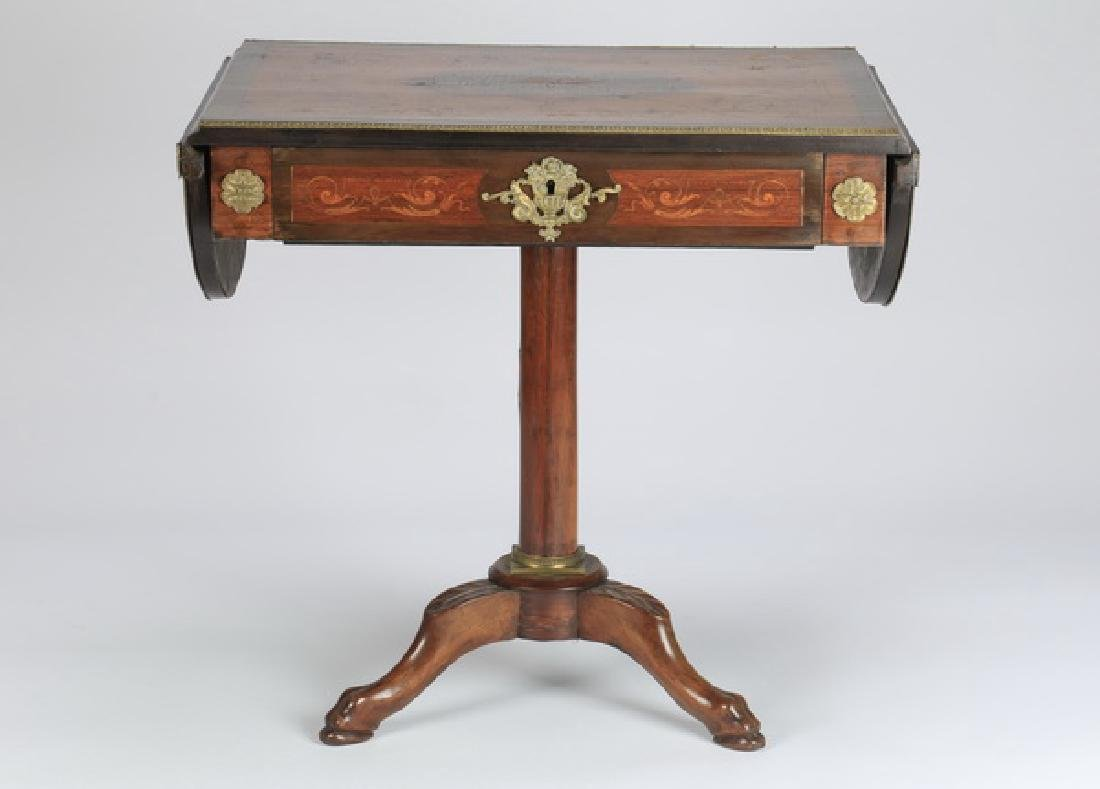 "Marquetry inlaid drop leaf table, 27""h - 2"