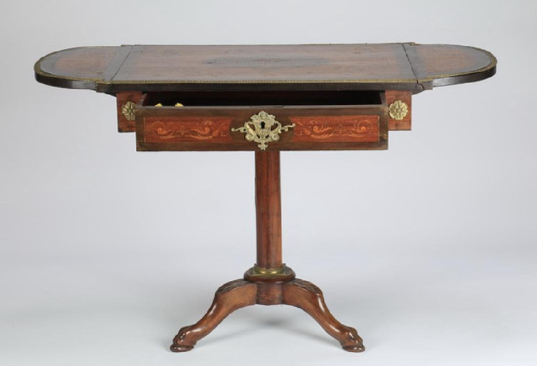 "Marquetry inlaid drop leaf table, 27""h - 3"