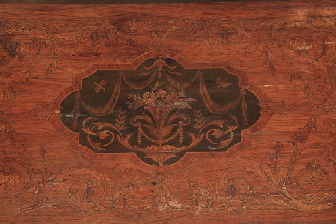 "Marquetry inlaid drop leaf table, 27""h - 5"
