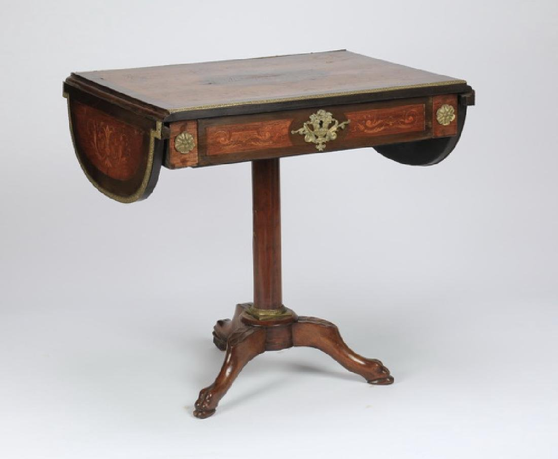 "Marquetry inlaid drop leaf table, 27""h - 6"
