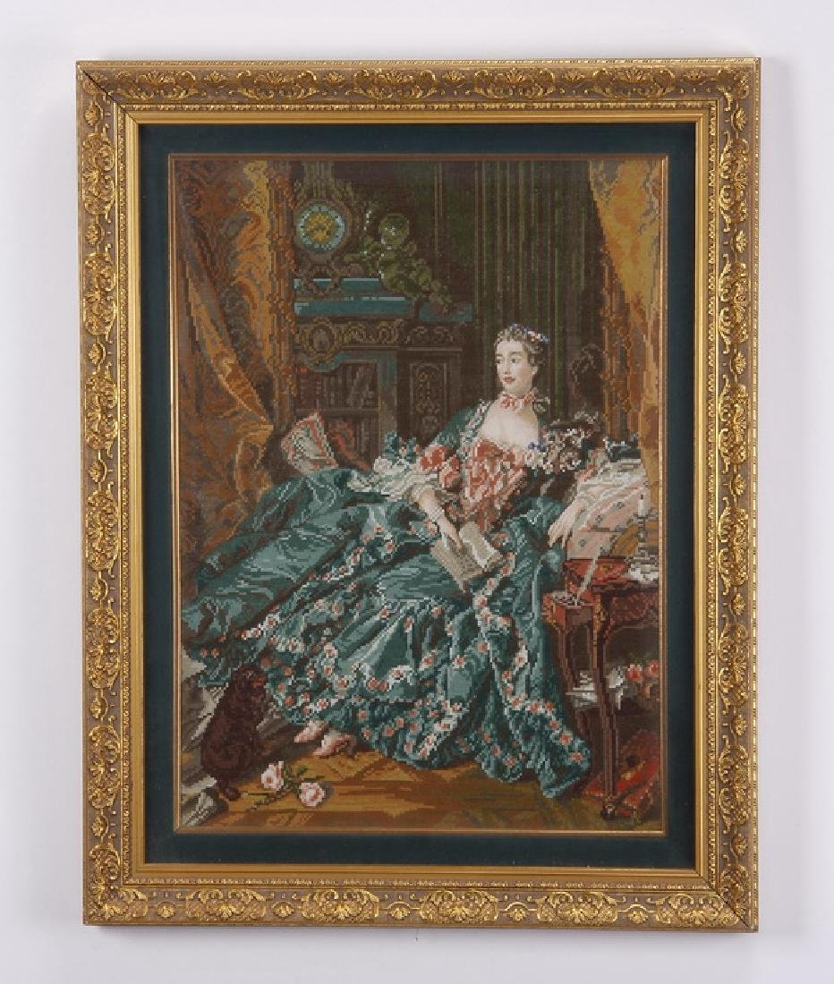 "Framed needlepoint tapestry, after Boucher, 32""h"