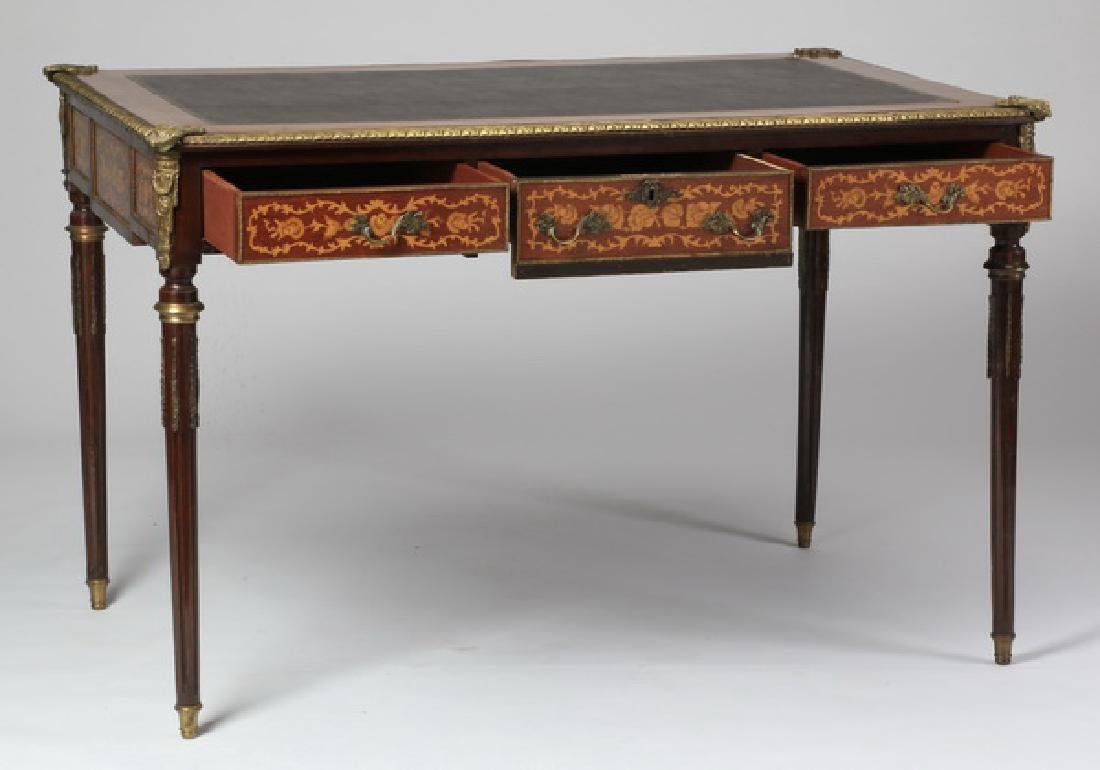French Louis XVI style leather top desk - 2