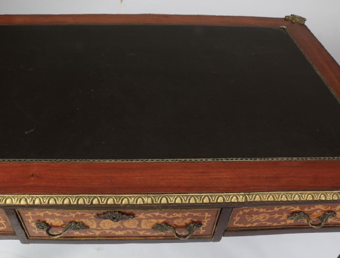 French Louis XVI style leather top desk - 4
