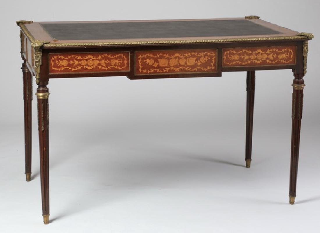 French Louis XVI style leather top desk - 6
