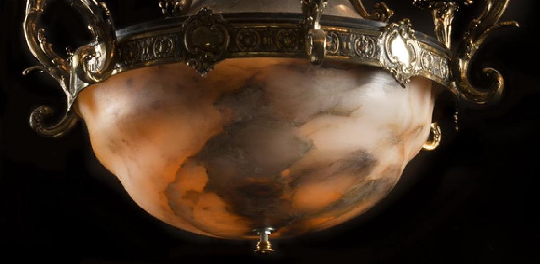 """19th c. bronze, marble and alabaster chandelier, 38""""h - 3"""