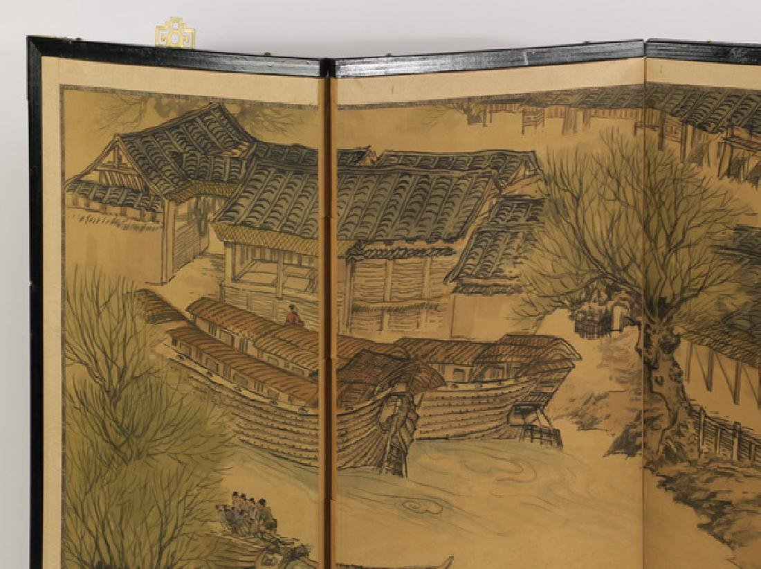 Four panel Chinese painted tabletop or hanging screen - 2