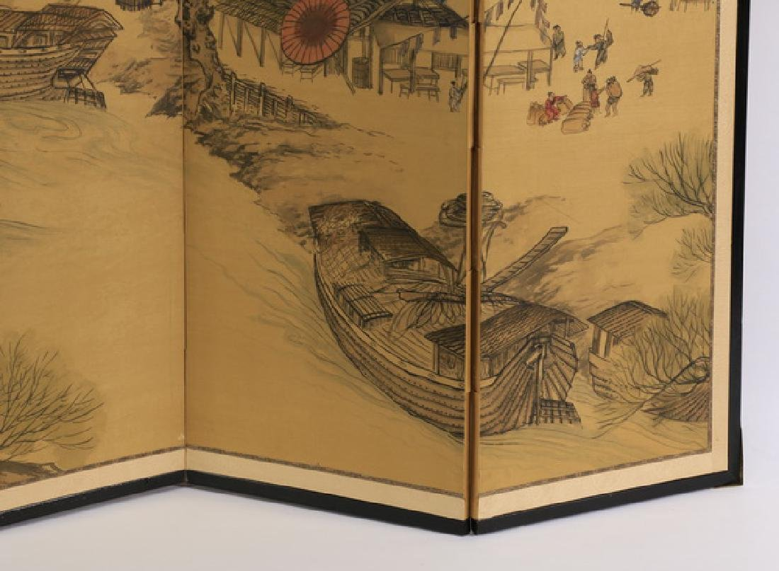 Four panel Chinese painted tabletop or hanging screen - 5
