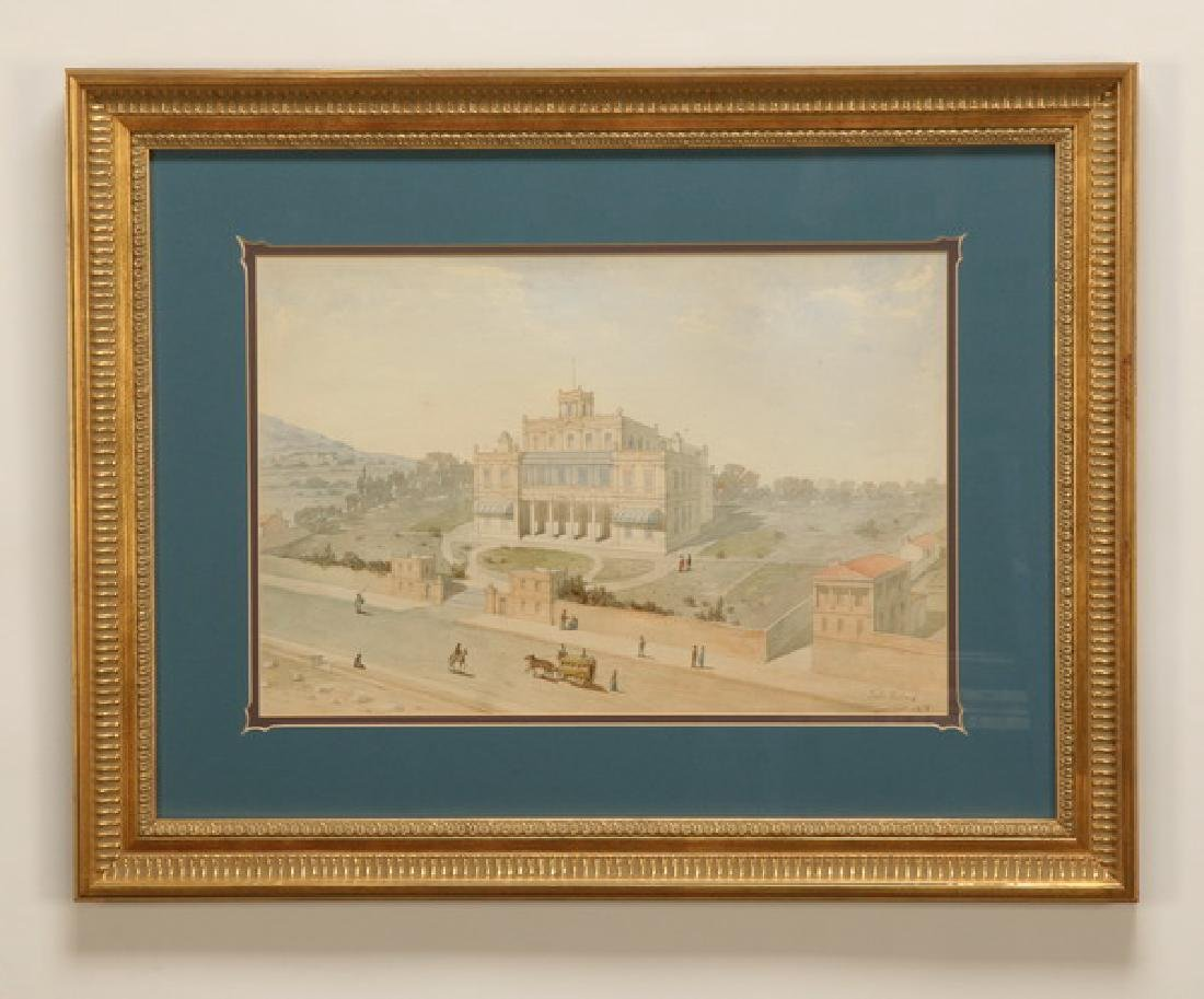 19th c. Italian watercolor, signed and dated