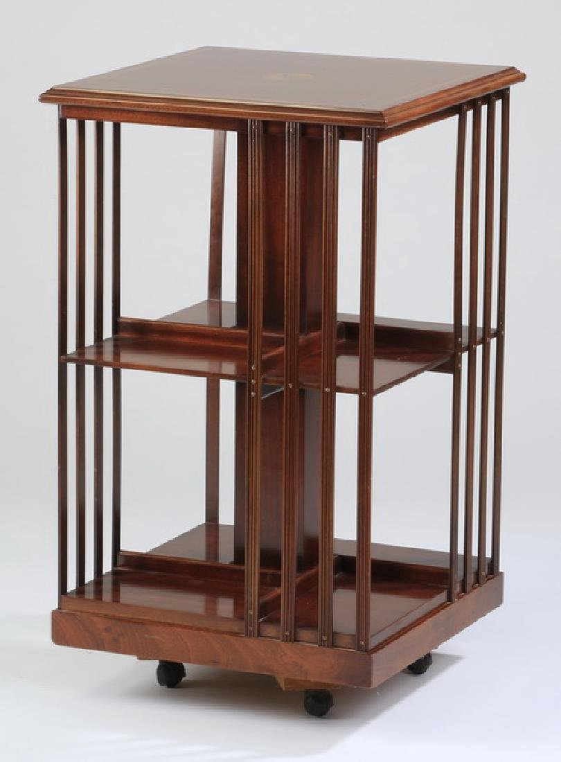 Revolving mahogany inlaid book stand