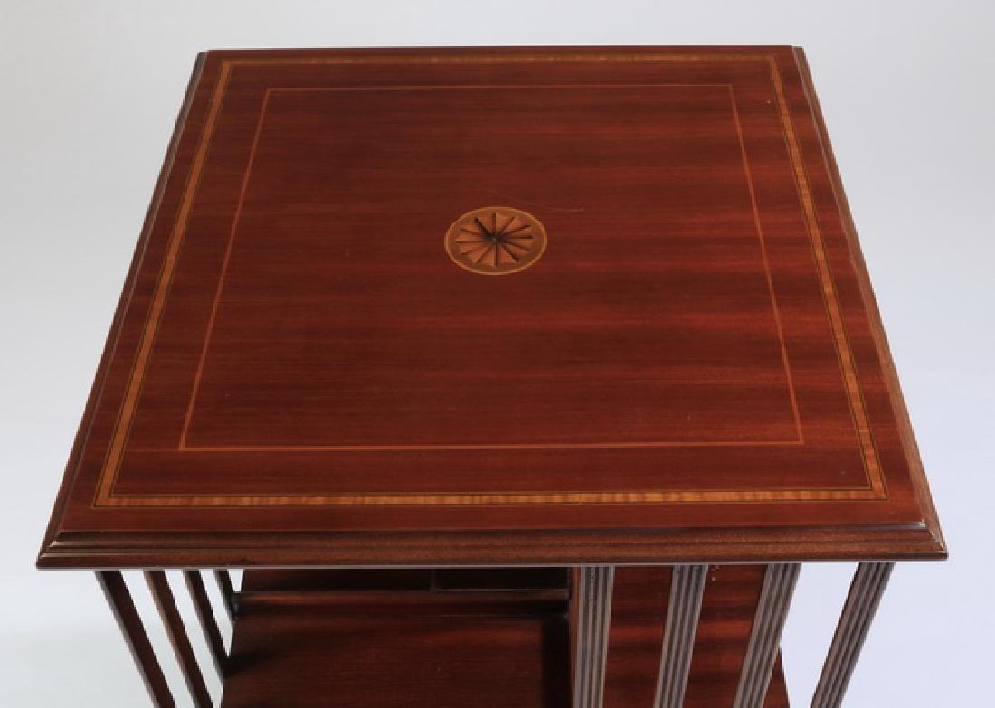 Revolving mahogany inlaid book stand - 2