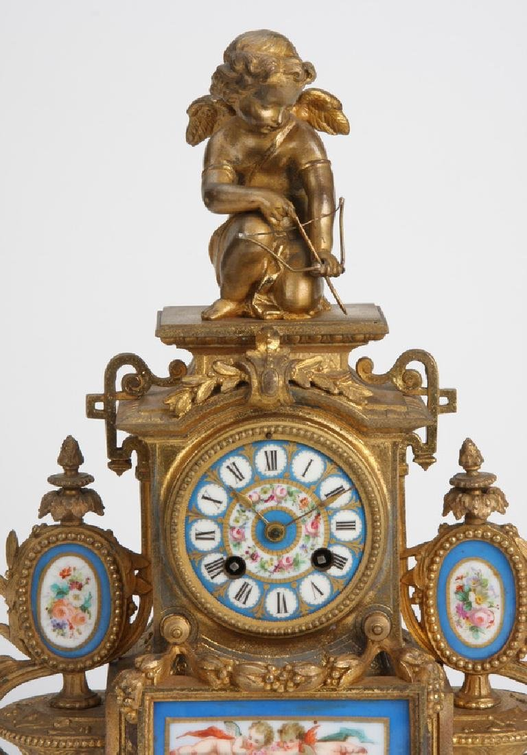 19th c. bronze and Sevres style porcelain clock - 2