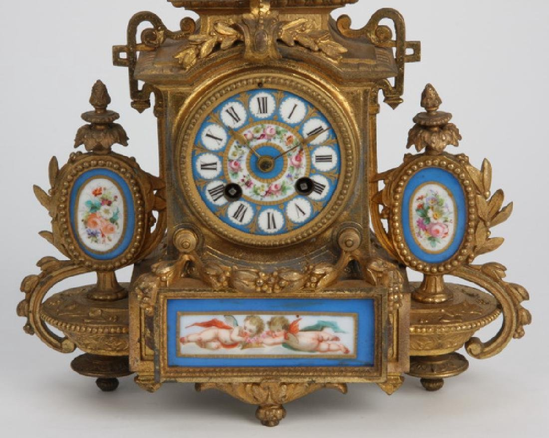 19th c. bronze and Sevres style porcelain clock - 3