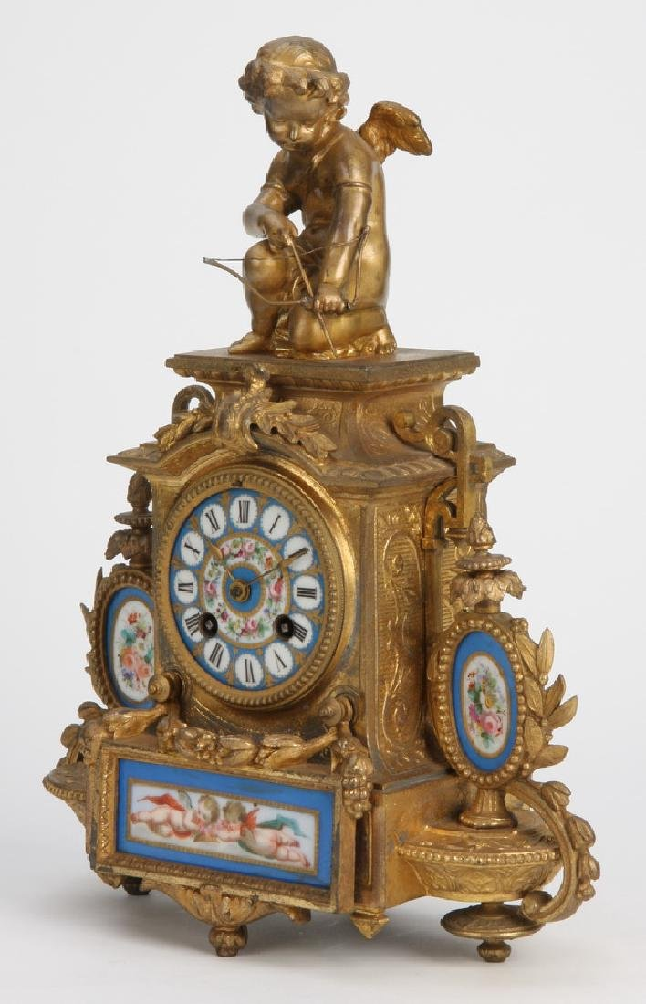 19th c. bronze and Sevres style porcelain clock - 4