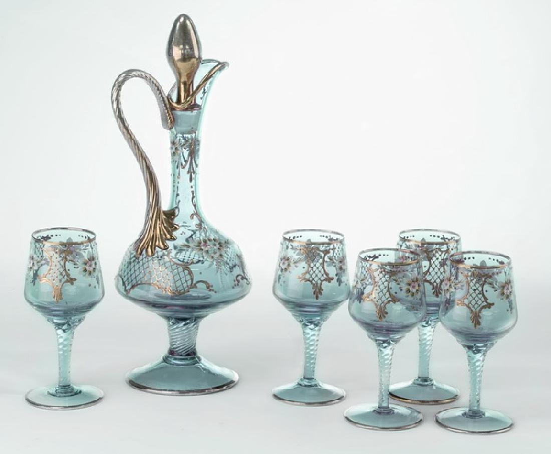 (6) Piece Moser-style decanter set