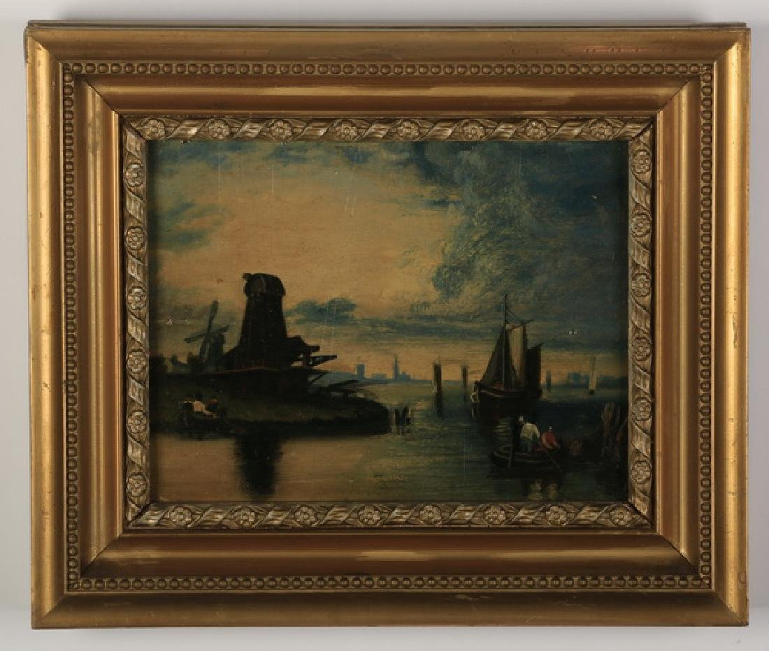 19th c. Dutch O/b coastal scene w/ gallery label