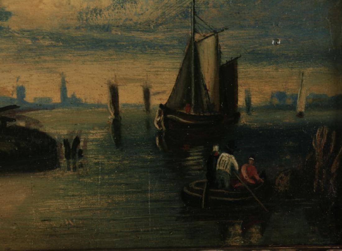 19th c. Dutch O/b coastal scene w/ gallery label - 2