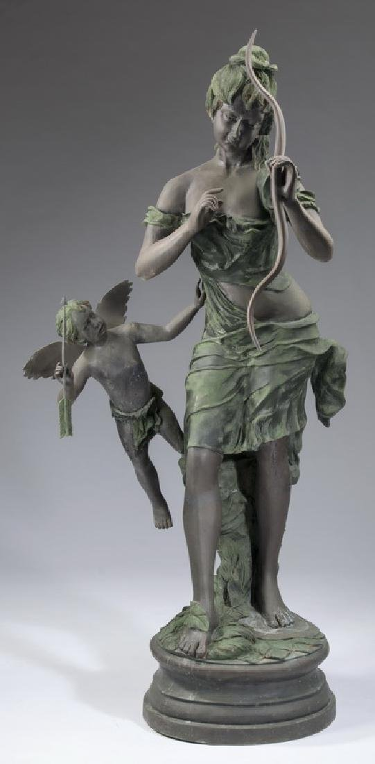 "Bronze sculpture of Venus disarming Cupid, 66""h"