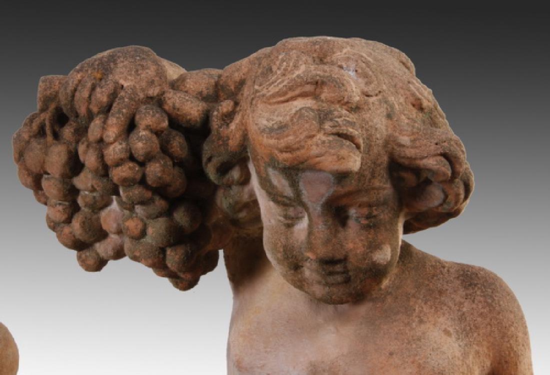 "(2) Italian cast stone putti sculptures, 36""h - 2"