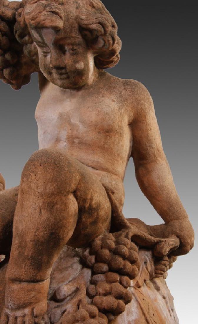 "(2) Italian cast stone putti sculptures, 36""h - 4"
