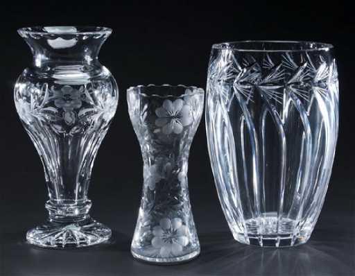 3 Cut Crystal Flower Vases Gorham And Rena